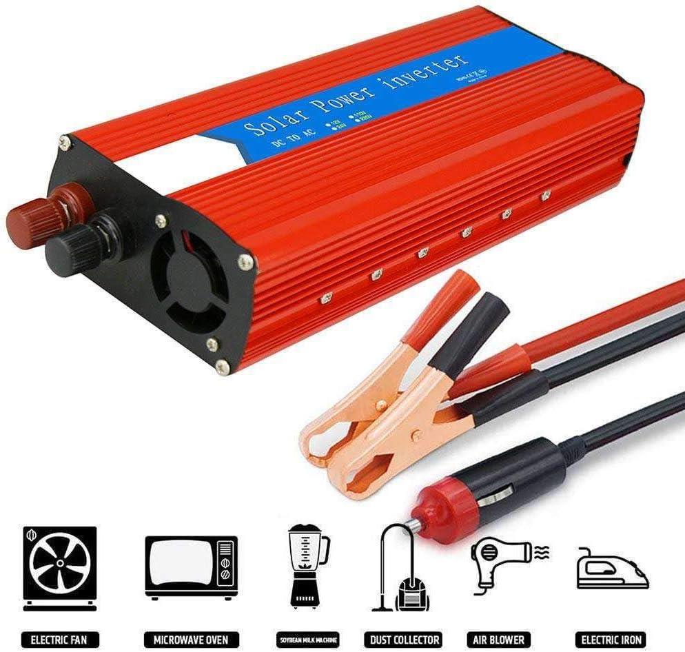 GRX-CAR Inversor de Onda sinusoidal Pura 3000W(Pico 6000W),Inversor de Corriente del Coche,Convertidor de Corriente DC 12V / 24V a AC 110V / 220V con Puerto de Carga USB,12VTO220V