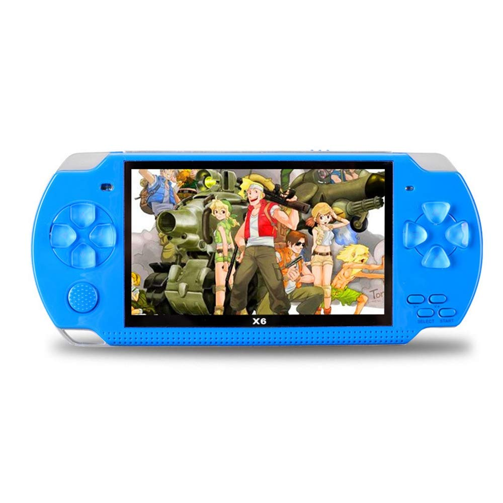 Womdee Handheld Game Console with Built in Games,Portable Video Games for Kids Retro,Built-in 500 Classic Video Games Player with 4.3'' 8GB System for Birthday Presents Kids Children Adults (Blue) by Womdee (Image #1)