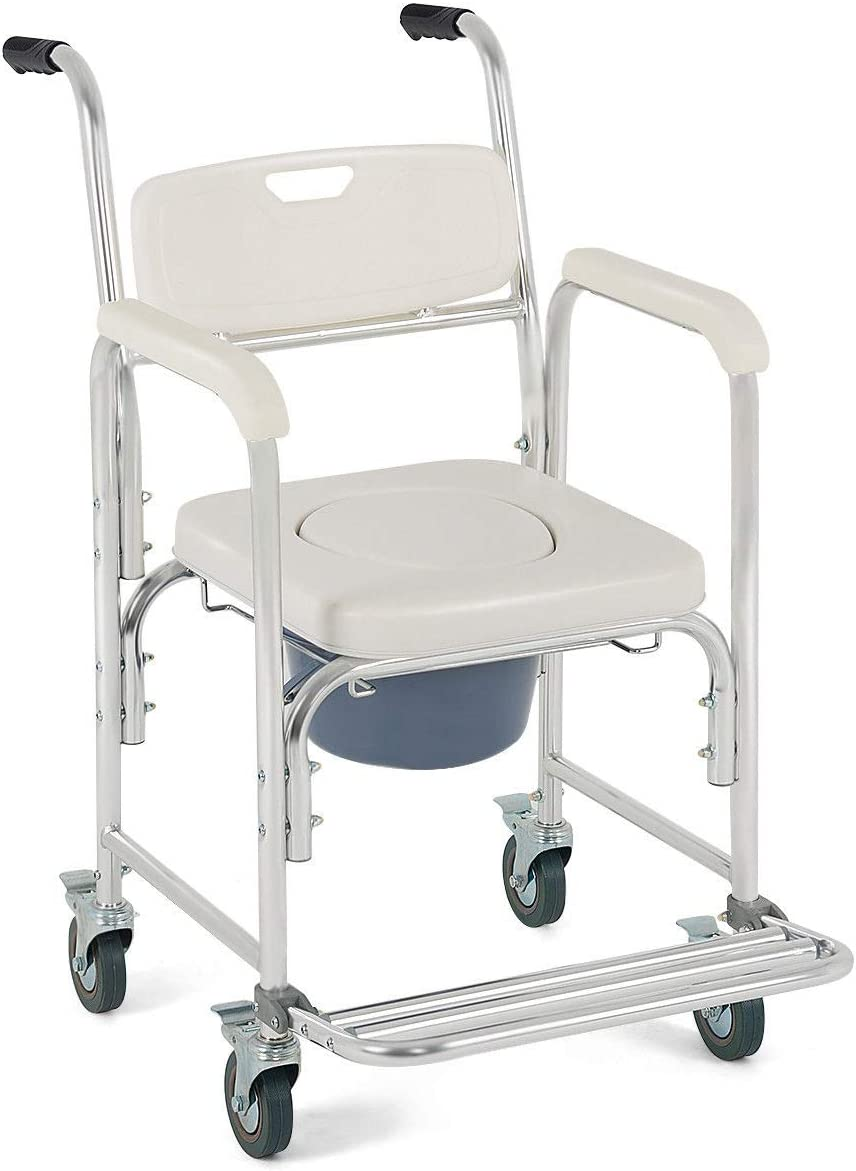 9 Trading Medical Commode Wheelchair Bedside Toilet Seat Bathroom Shower w Locking Casters,Free Tax,Delivered Within 10 Days