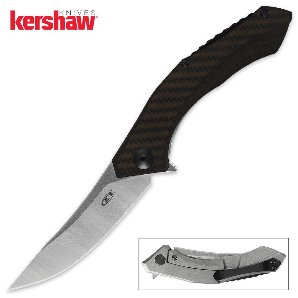 Zero Tolerance ZT0460 Dmitry Sinkevich Flipper Knife (Bronze Carbon Fiber and Titanium Handles)