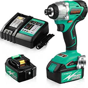 """Enegitech 18V Cordless Impact Driver Combo Kits, Brushless Motor ¼"""" 3097 in.lbs 4 Speed Power Tool with 2 x 3.0Ah Battery and 1 x 30 mins Fast Charger"""