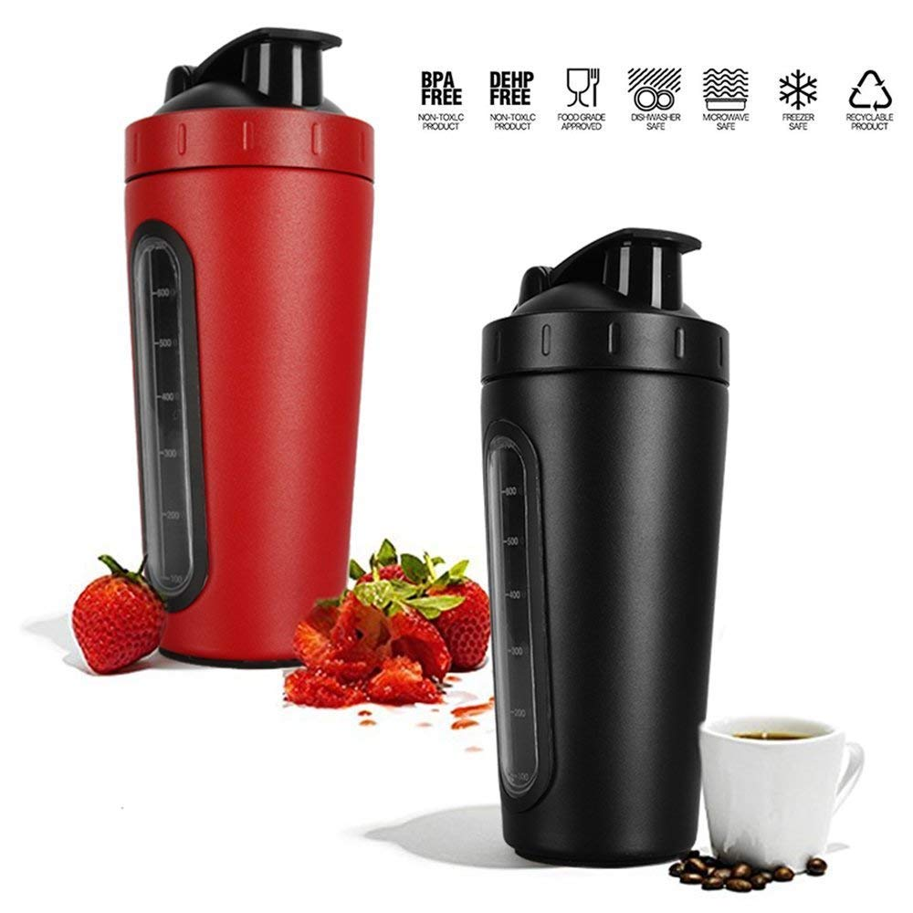800ml (28oz) Stainless Steel Protein Shaker Bottle with Mixing Ball | Visible Window | Loop Top | Leak Proof | BPA Free | 2018 New Model | Red