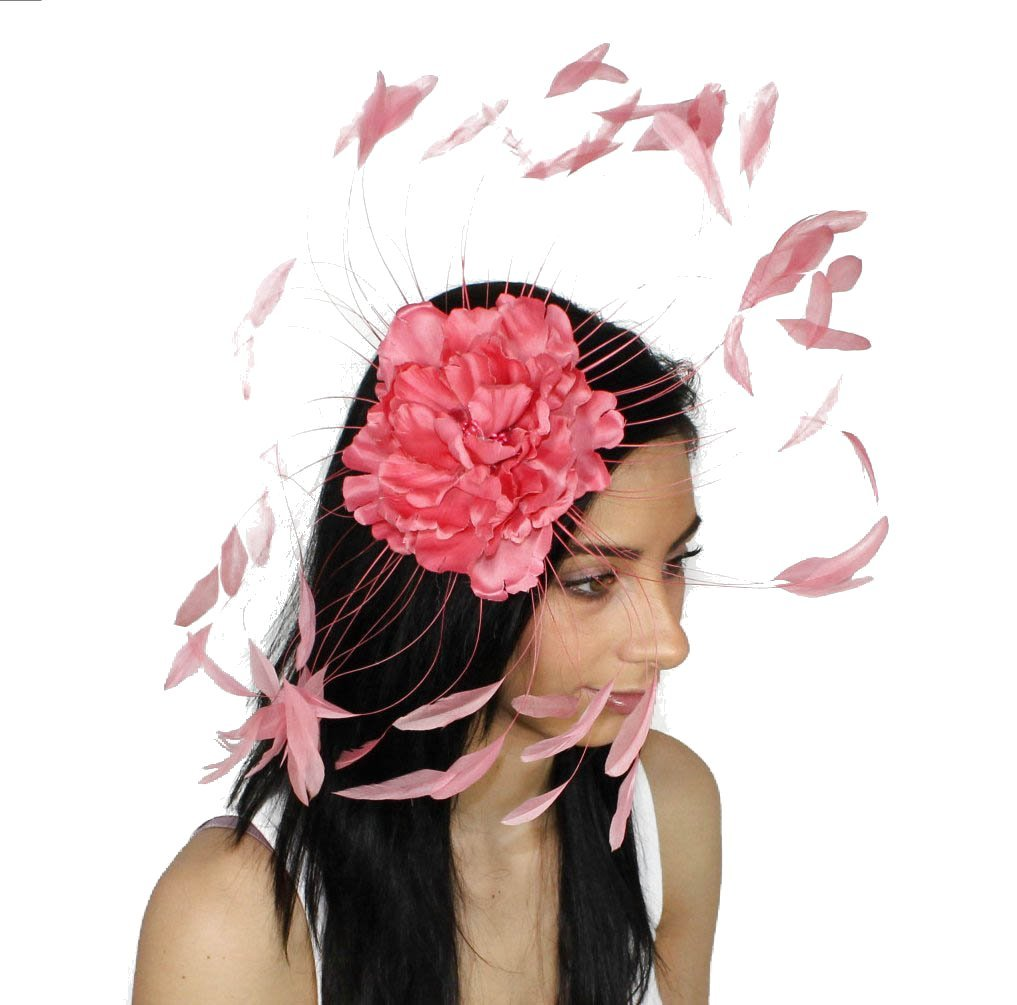 Feather and Flower Fascinator Hat With Headband - Pinky Coral