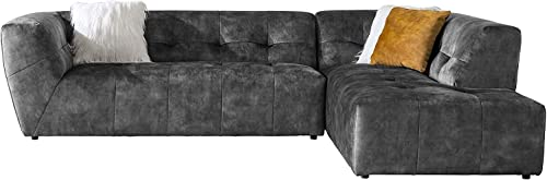Acanva Luxury Mid-Century Velvet Tufted Low Back Sofa Set L-Shape 2-Piece Living Room Couch