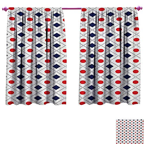 cobeDecor Americana Customized Curtains Big Red Dots Squares and Dashed Cross Lines in Flag Colors Print Room Darkening Wide Curtains W96 x L72 Navy Blue Red and White