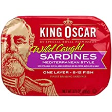 King Oscar Mediterranean Sardines,  3.75 Ounce Tins (Pack of 12)