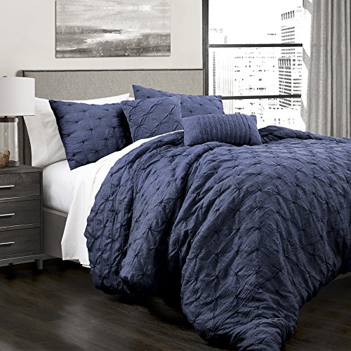 Lush Decor Lush Décor Ravello 5 Piece Comforter Set, Full/Queen, Navy (Decor Home Lush Fashions Triangle)