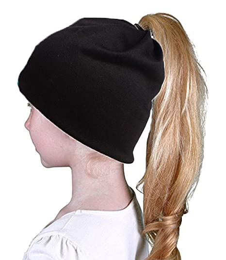 COMVIP Girl s Solid Winter Warm Woolen Beanie Ponytail Hole Skull Cap Black 28bdec2aa35