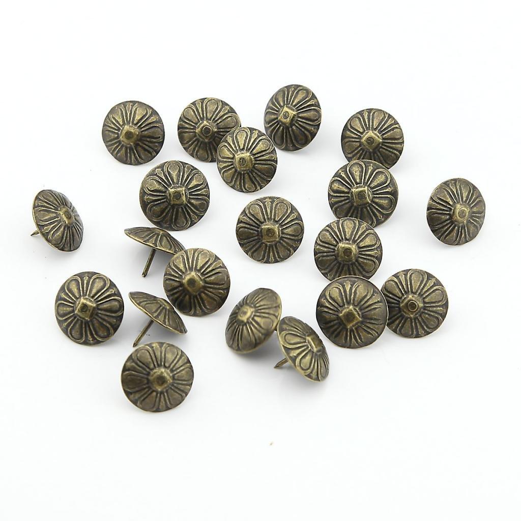 Heftzwecken / Reiß zwecke / Reiß nagel / Dekorativer Polsternagel im Chrysanthemen-Design, 19 x 15 mm, 50 Stü ck, bronzefarben Ballen_Ma