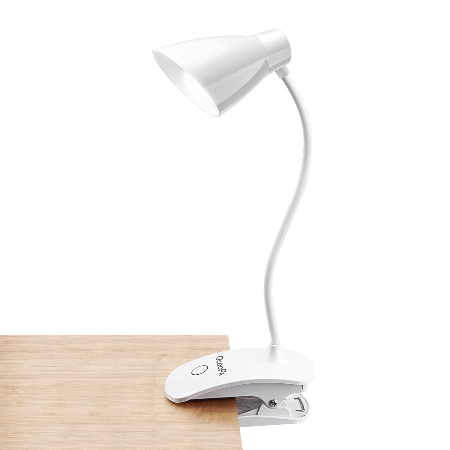 LED Clip on Light, OCOOPA Battery Operated Reading Lamp, USB Rechargeable Book Light, Dimmable Touch Bedside Lamp, Portable Desk Lamp with Good Eye Protection