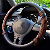 Mr.Dakai Microfiber Leather & Summer Ice Silk Auto Car Steering Wheel Cover Universal 15 inch Excellent Grip, Durable, Breathable, Anti Slip & Odor Free (A- Coffee Color)