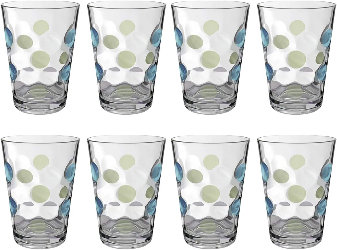 Plastic Water Tumblers, 12-ounce Break-Resistant Drinking Glasses Dishwasher Safe Bathroom Cups| Clear Set of 8