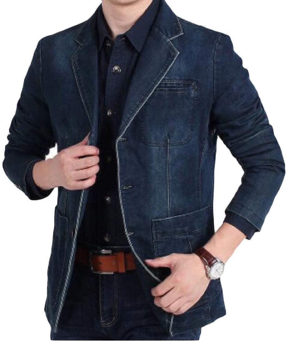 Abetteric Mens Notch Lapel Patch Classic-Fit Slim Fit Blazer Jacket Coat