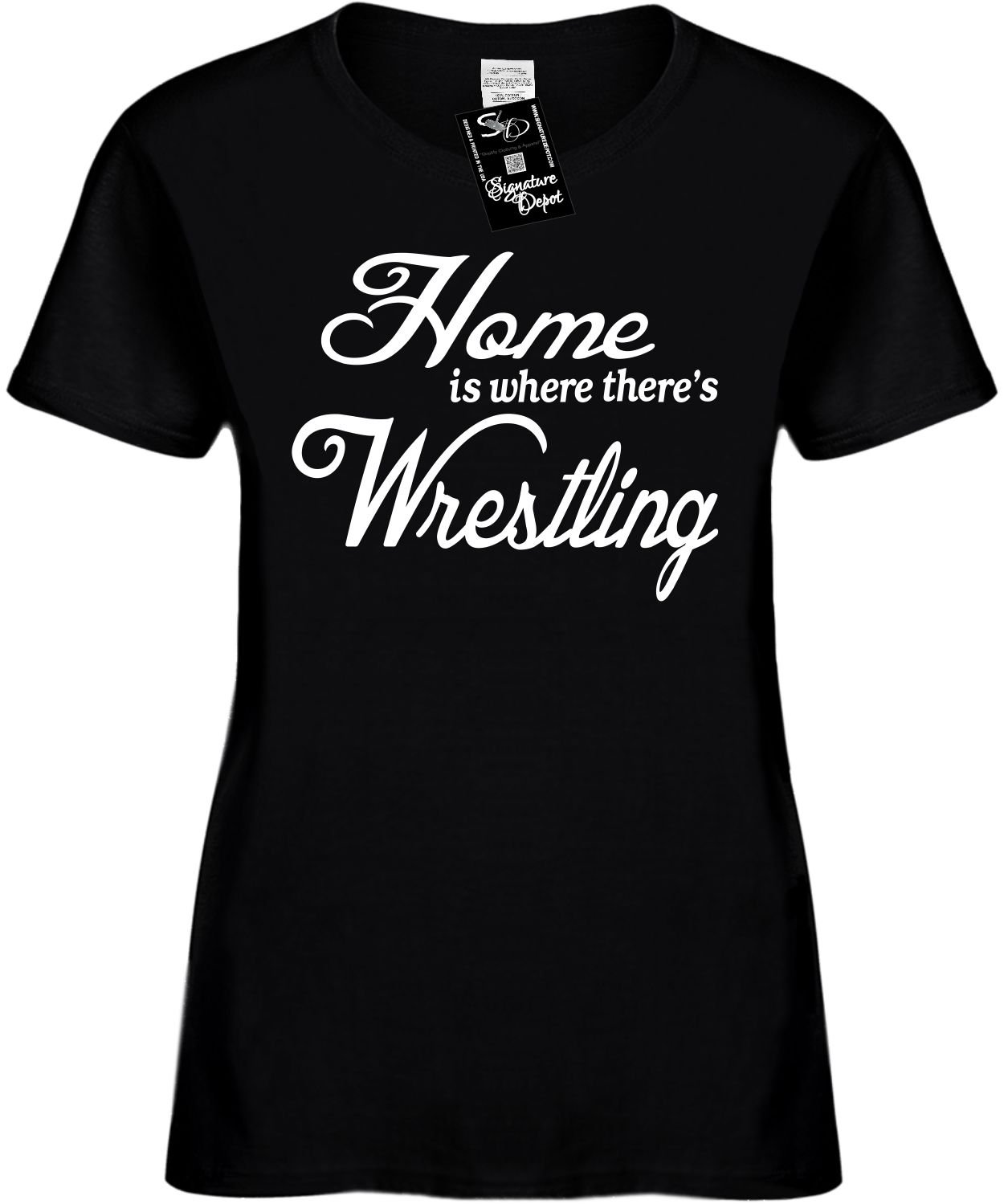 Women's Size XL Funny T-Shirt (Home Is Where There's Wrestling) Ladies Shirt by Signature Depot