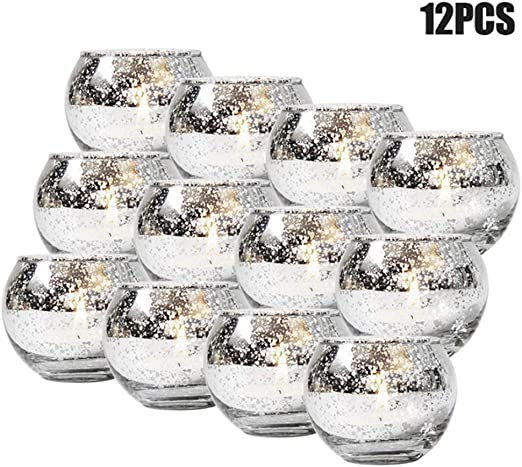 Rose Gold Crushed Glass Tealight Candle Holder Luxury Cosy Home Accessory