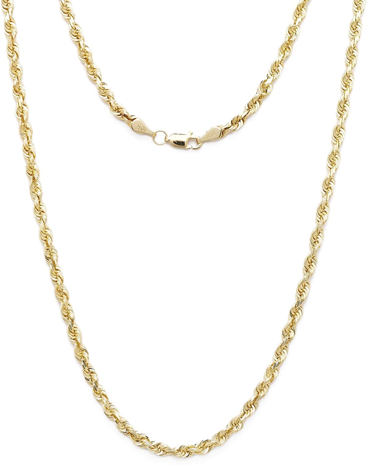 Floreo 10k Yellow Gold 5mm Solid Diamond Cut Rope Chain Necklace