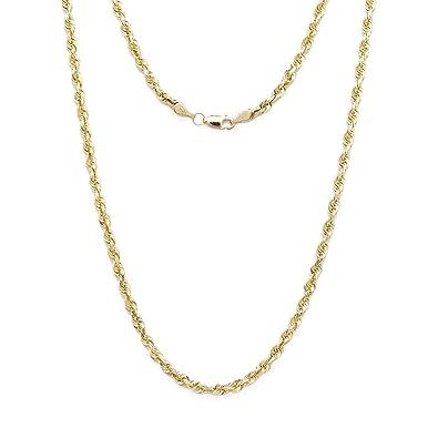 f4c16a9da01e5 10k Yellow Gold Solid Diamond Cut Rope Chain Necklace, 2mm