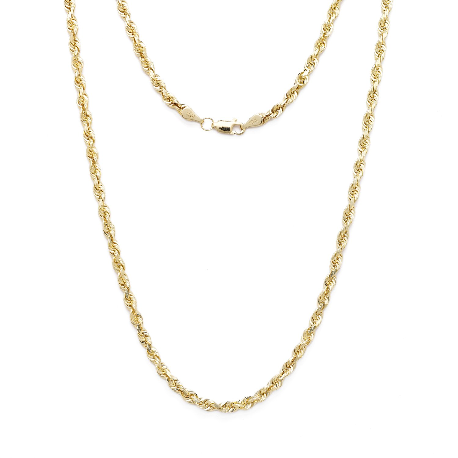 16 Inch 10k Yellow Gold Solid Diamond Cut Rope Chain Necklace 3mm