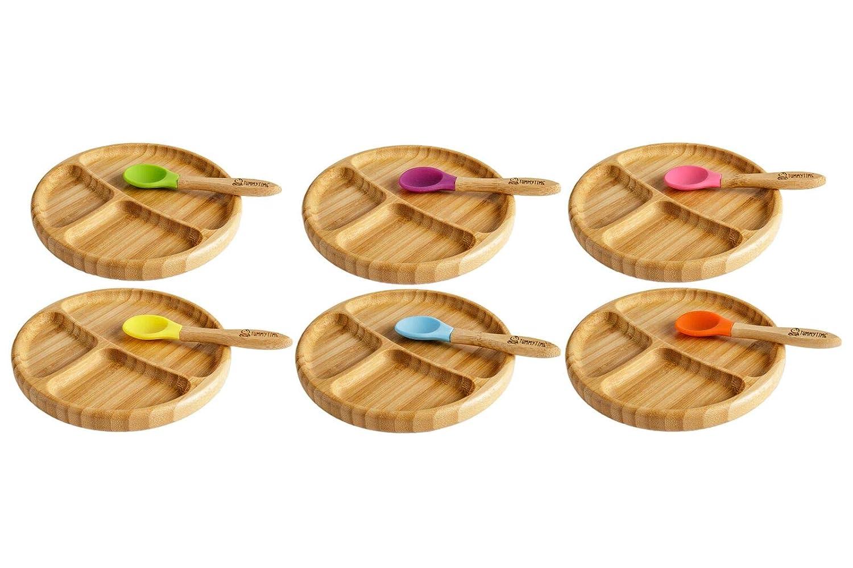 Natural Bamboo Juego de platos de succi/ón para beb/és y juego de cucharas a juego plato de alimentaci/ón de succi/ón para colocar en la succi/ón ideal para beb/és LED WEANING