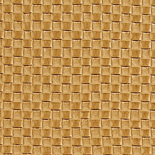 G000 Golden Yellow Woven Rattan Faux Leather Vinyl By The Yard