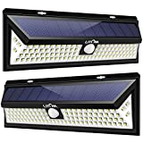 LITOM Enhanced 102 LED Super Bright Solar Lights Outdoor, Solar Motion Sensor Lights with 270°Wide Angle, IP65 Waterproof, Easy-to-install Security Lights for Front Door, Yard, Garage, Deck(2 Pack)