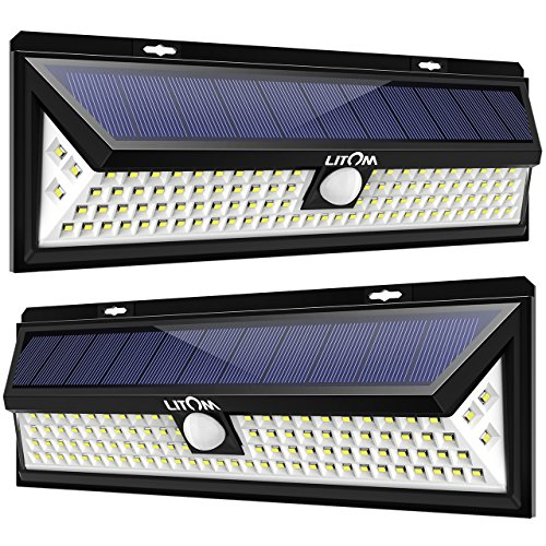 Litom 102 LED Super Bright Solar Lights Outdoor, Power Solar Motion Sensor Security Light Wireless Waterproof Wall Lights for Front Door, Garden, Pathway, Back Yard and Patio Lighting(2 Pack)