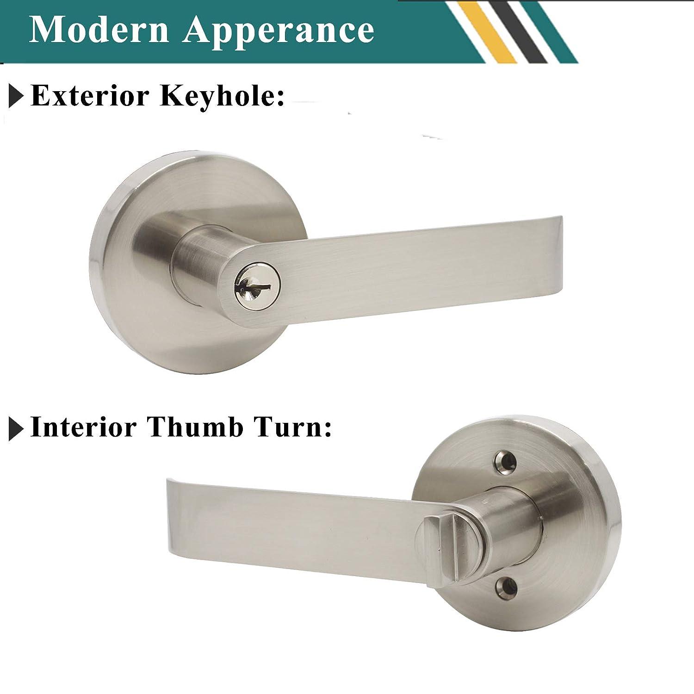 Contractor Pack Keyed Alike Entrance Lockset Probrico 5 Pack Keyway Front Door Hardware Combo Lock Heavy Duty Entry Lever in Brushed Nickel 3 Keys