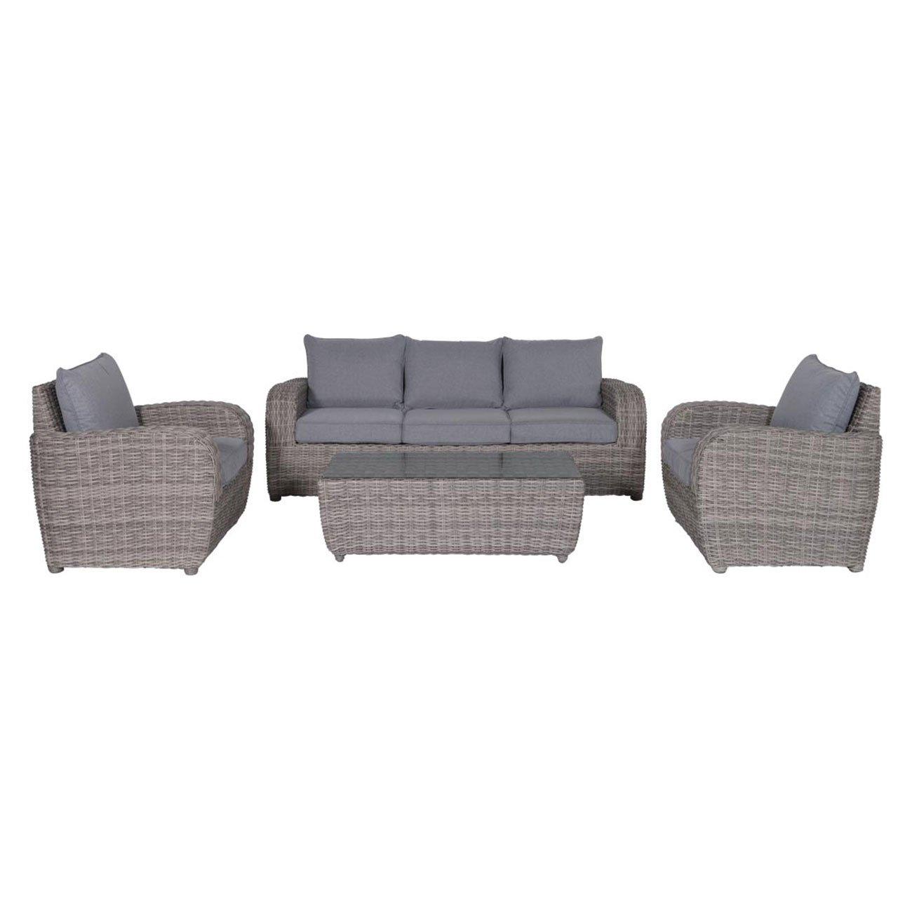 Gartenlounge OUTLIV. Buffalo Loungeset 4-teilig Geflecht Organic-Grey/Anthrazit Sitzbank Garten