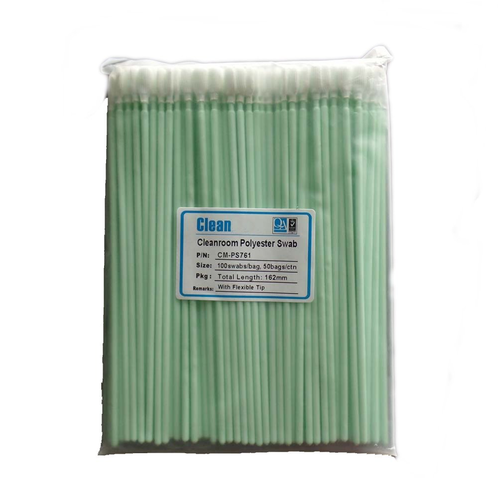 "KJHome 100psc 6.38"" Polyester Fiber Cleaning Swabs for Inkjet Printer, Printhead, Camera, Cleanroom, Optical Lens, Gun, Automotive Detailing, Optical Equipment"