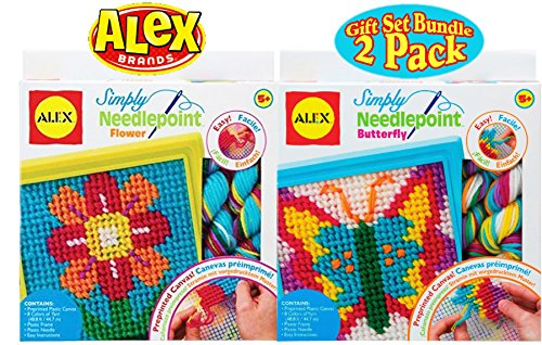 ALEX Toys Crafts Simply Needlepoint Flower & Butterfly Gift Set Bundle - 2 Pack ()