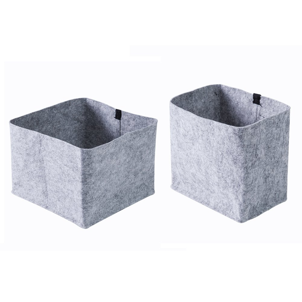 Hemore 2 Packs Felt Storage Basket Baby Diaper Caddy Containers Organizer Decorative Cloth Bin Nursery Closet Box