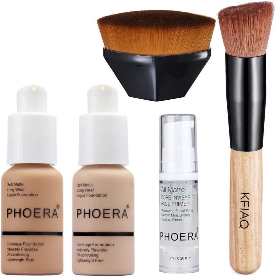 PHOERA 30ml Bases de maquillaje Correctores Concealer (Nude #102)(Buff Beige #104) con 6ml Makeup Face Primer & Brochas Maquillaje & Pincel de maquillaje Mango de madera