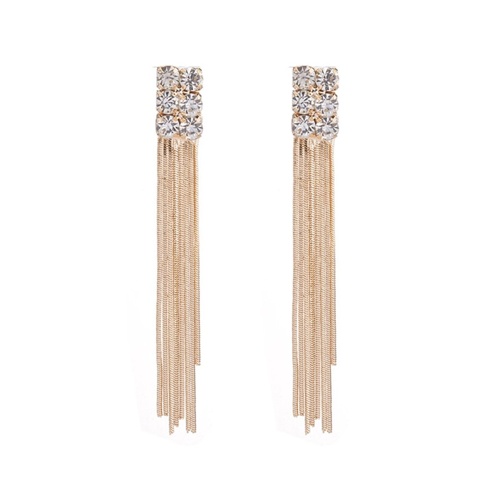 Gold Kanggest Metal Fringed Tassel Rhinestone Earrings Drop Dangle Stud Earrings for Women Girls Perfect Valentines Day Gifts