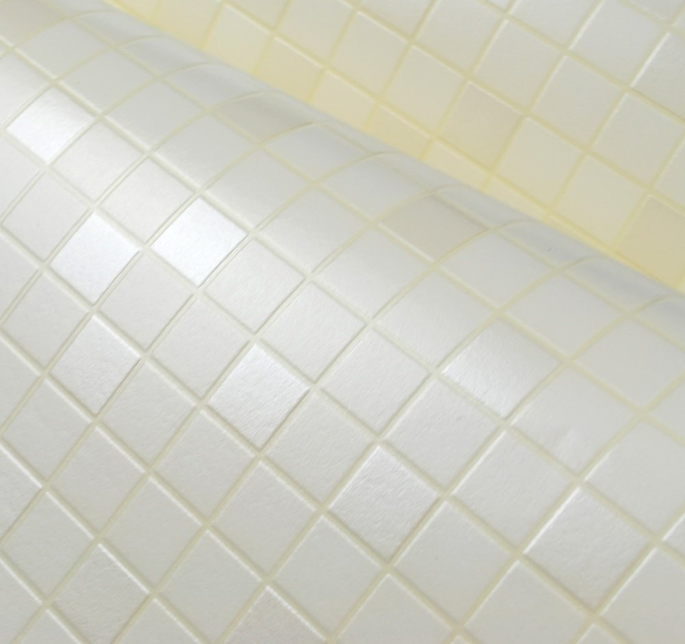 HDC 117 Peel Stick Vinyl White Color Wallpaper Bathroom Waterproof Self Adhesive Mosaic Pattern For Walls 208inch Wide By 984inch Long