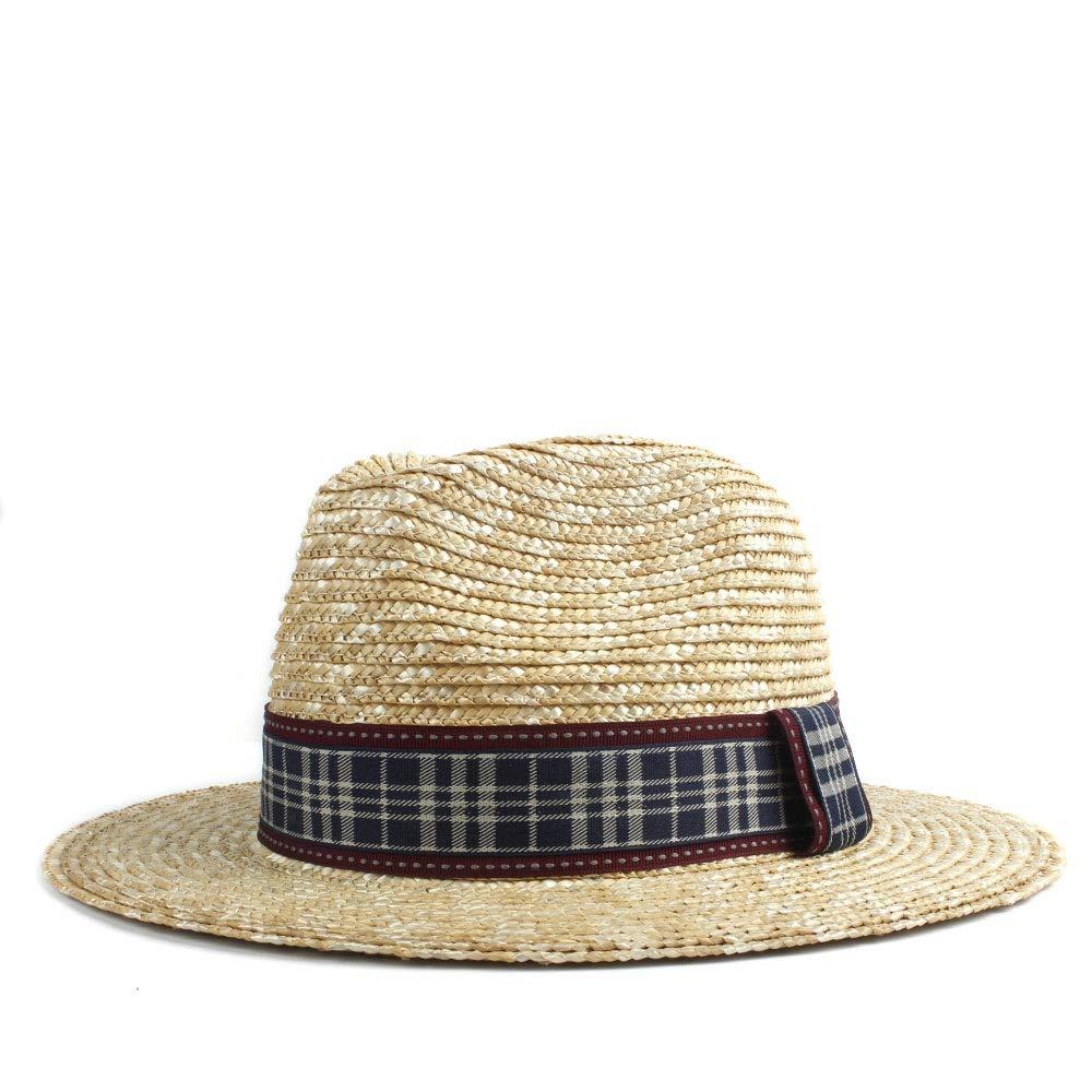 Color : 1, Size : 56-58CM YUXUJ Sun Hat Women Wheat Fashion Red Black Plaid Hat Classical Elegant Queen Panama Hat Gentleman Beach Hat