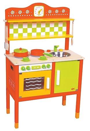 LELIN Spielküche ROT Holz Kinder Küche Kinderküche ...