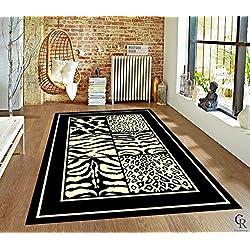 "Champion Rugs Modern Animal Print Skin Zebra Squares Safari Bordered African Theme Area Rug (3' 11"" X 5' 2"")"