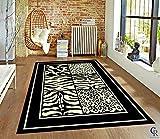 Champion Rugs Modern Animal Print Skin Zebra Squares Safari Bordered African Theme Area Rug (2' X 3')