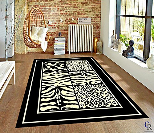 Champion Rugs Modern Animal Print Skin Zebra Squares Safari Bordered African Theme Area Rug (2' X 3') by Champion Rugs