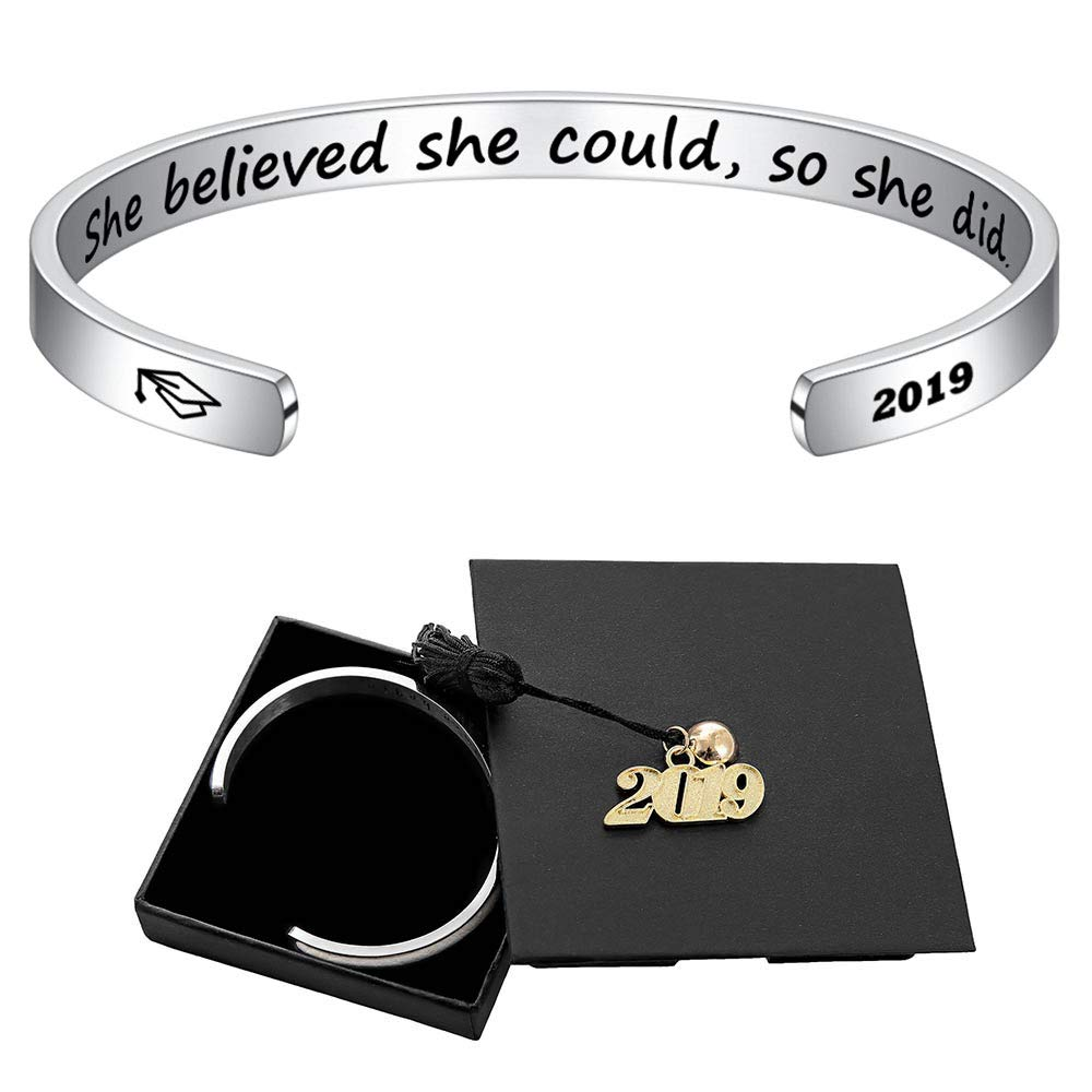Inspirational Graduation Bracelet Women Gifts - Class of 2019 She Believed She Could So She Did Inspirational Cuff Bracelet Graduation Gifts Birthday Gifts Friendship for Her with 2019 Graduation Cap