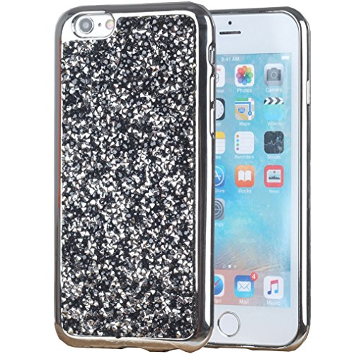 iPhone SE Case, iPhone 5S Case, iYCK Luxury 3D Handmade Electroplated Soft Flexible TPU Crystal Diamond Rhinestone Bling Glitter Protective Shell Back Case Cover for iPhone 5/5S/SE - Black (Iphone 5 Crystal Bling Case compare prices)
