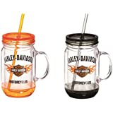 Harley-Davidson Flaming Bar & Shield Mason Jar Cups, 2 Pack Gift Set P24084901