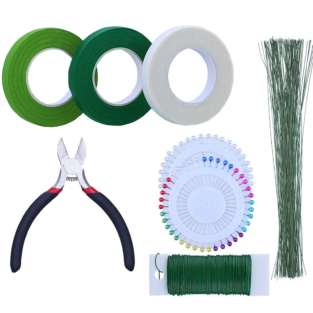 HAUTOCO 8 PCS Floral Arrangement Tool Kit, 4.5'' Wire Cutter, 3 Rolls Floriculture Paper Tapes and 26 Gauge Floral Wire, 22 Gauge Floral Stem Wire and Ball Head Floral Pins for Bouquet Wrapping Floral