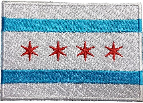 CHICAGO CITY FLAG ILLINOIS COOK COUNTY EMBROIDERED PATCH Bad