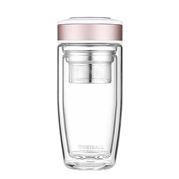 oneisall gybl015 cristal de borosilicato botella de agua con colador 380 ml, con Tapa Taza