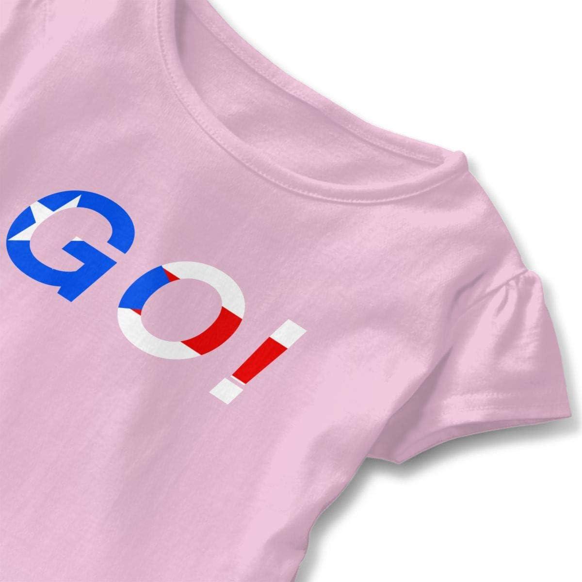 Toddler Baby Girl Puerto Rico Go 100/% Cotton T Shirts Short Sleeve Ruffle Tee Basic Tops