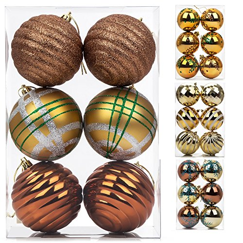 6ct Christmas Ball Ornaments, Shatterproof Xmas Trees Wedding Parties Tree Decorations Hanging Ornaments, 100mm/3.9