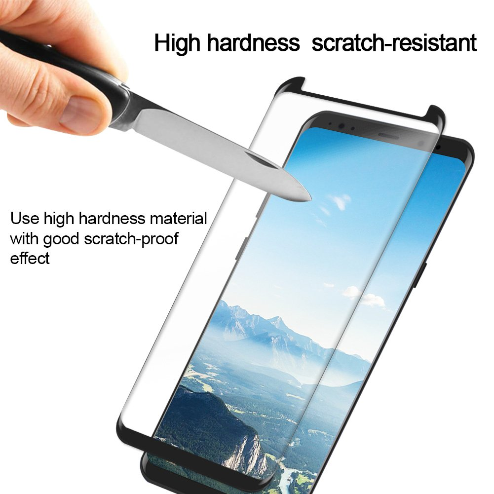 Galaxy S8 Protector de pantalla [2-Pack], goodsmiley cobertura total vidrio templado Teléfono Protector de pantalla, 9h dureza 3d curva protección cristal ...