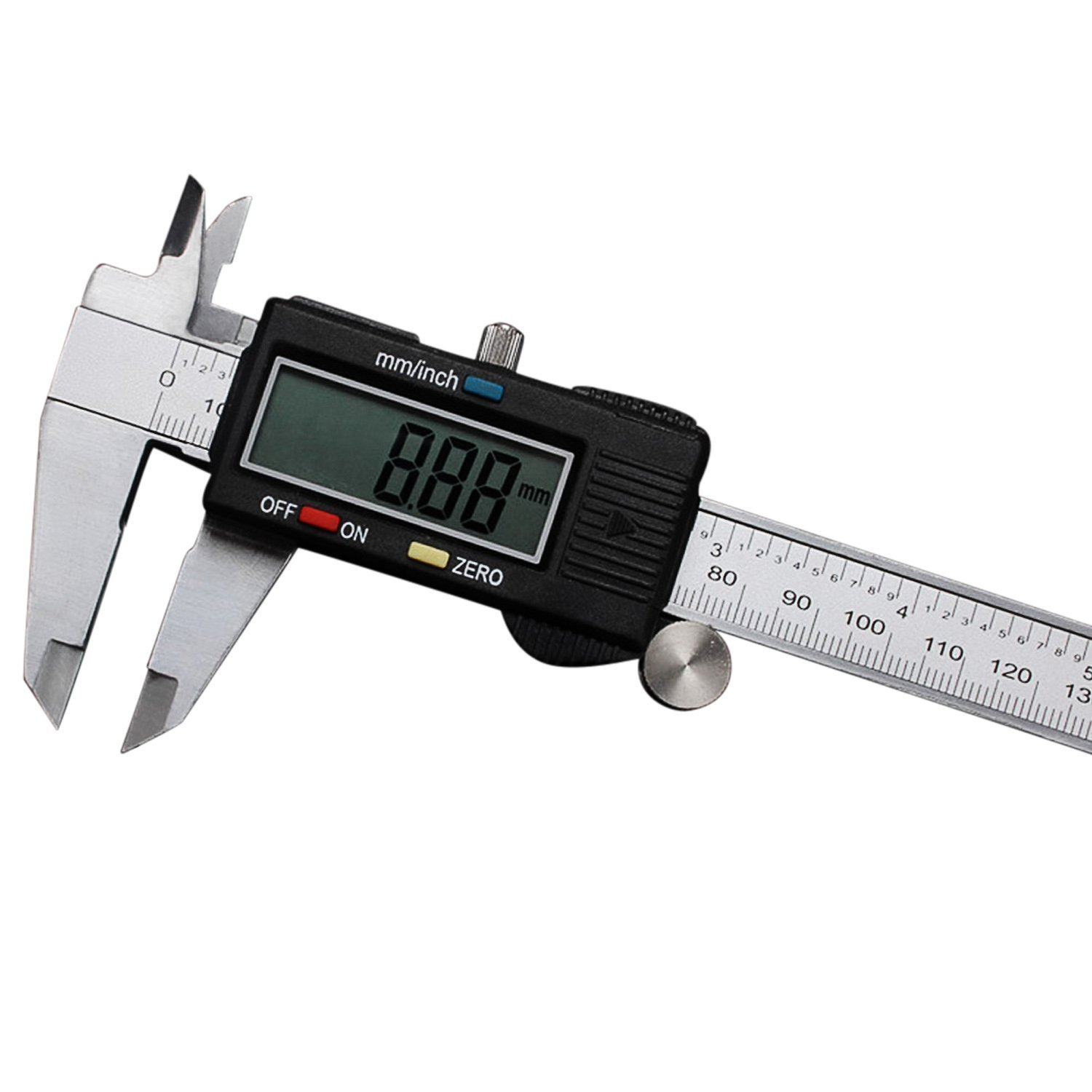 Digital Vernier Caliper Inch Metric Conversion 0-6 Inch/150 mm with LCD Stainless Steel Electronic Depth Gauge Measuring Tools by OKPOW