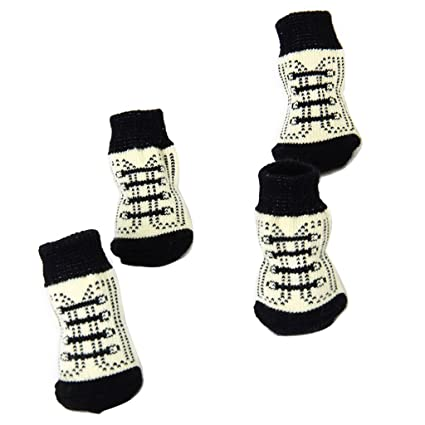 Calcetines Non-Slip para Perro Gato Patrón de Garra Shoelace Negro Blanco L